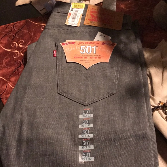 Levi's 501 Mens Black Button-Fly Denim Jeans Size 36//32